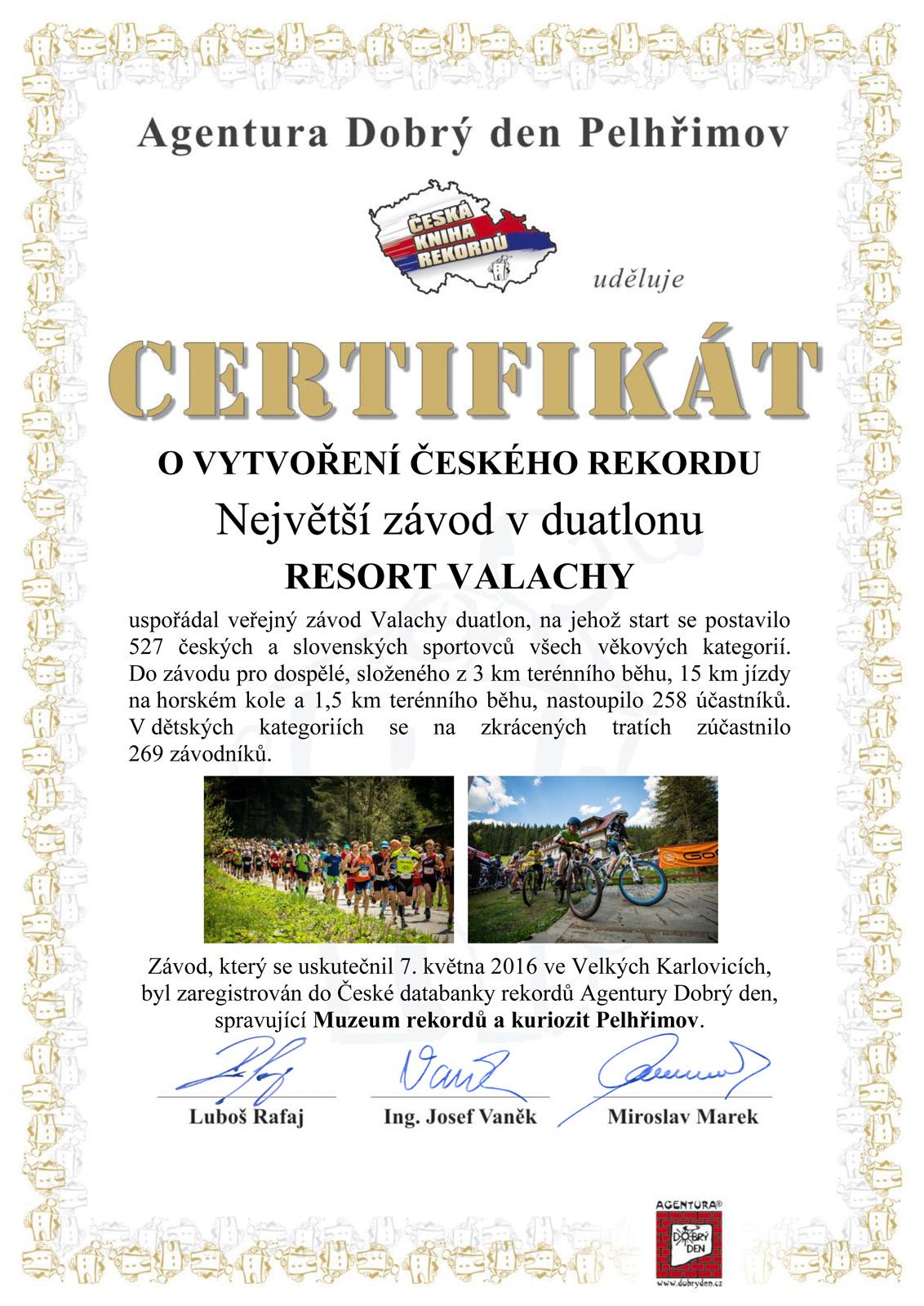 Certifikát o vytvoření českého rekordu